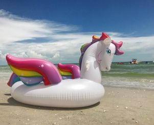 A giant unicorn float on Sanibel Island