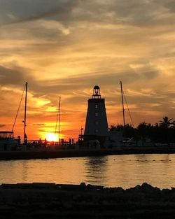 A picture of the Faro Blanco lighthouse on Marathon in the Florida Keys.