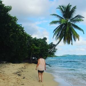 Walking on the beach in Martinique