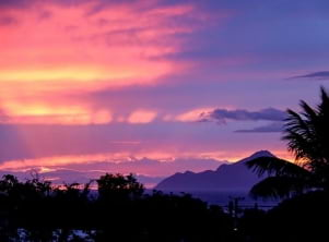 Sunset from Statia with a view of Mount Scenery.
