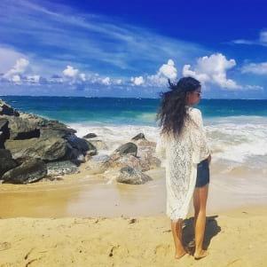 Enjoying the beautiful beach of Barbuda.