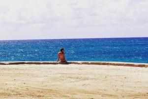 Enjoying the deep blue sea in Bmini.