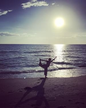 Happy Birthday yoga pose on Captiva Island Florida