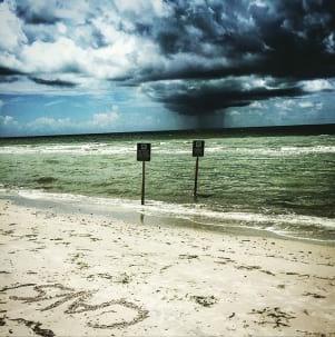Summer shower on Fort Myers Beach Florid
