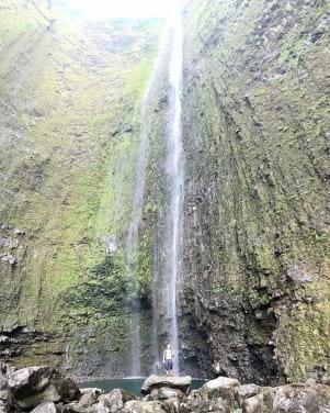 Big waterfall on the Big Island Hawaii