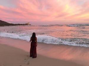 Sunset in Waikiki beach Hawaii