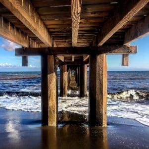 Beautiful shot of a pier in Kauai Hawaii