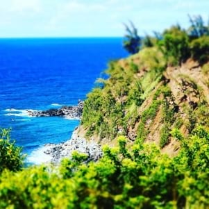 The cliffs above Peahi or JAWS on Maui Hawaii