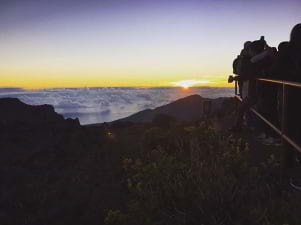 Above the clouds sunset on Maui Hawaii