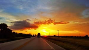 A Super Golden Sunset at the end of the road in South Florida