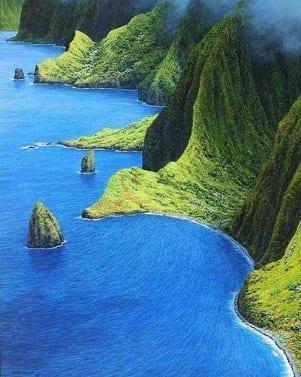 Surreal coastline in Molokai Hawaii