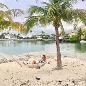 Relaxing under the palm trees in Nassau.