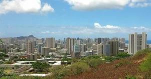 Concrete jungle in paradise on Oahu Hawaii