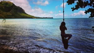 Old fashioned swing on the beach in Oahu Hawaii