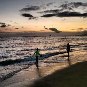 A stroll and then a swim at sunset on Waikiki Beach.