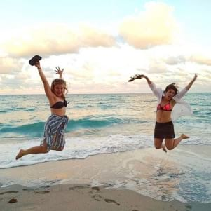 Jumping for joy in South Miami Beach.