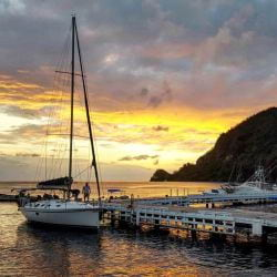 Someone preparing  for a sunset sail in St. Lucia