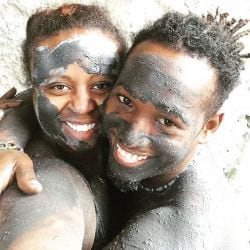 A picture of a Happy couple at the hot springs in St. Lucia