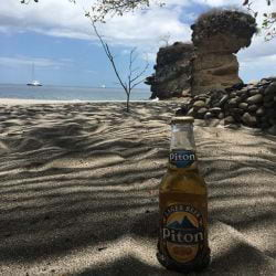 Sippin Pitons on the sand in St. Lucia